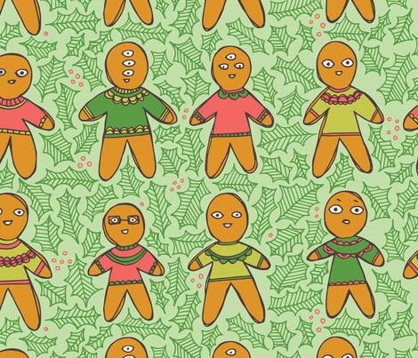Weird Is Good Gingerbread Men fabric by tiffanyheiger on Spoonflower - custom fabric