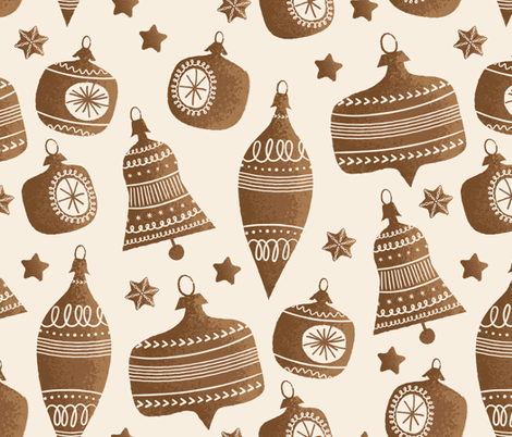 Gingerbread Bells and Baubles  fabric by retrorudolphs on Spoonflower - custom fabric
