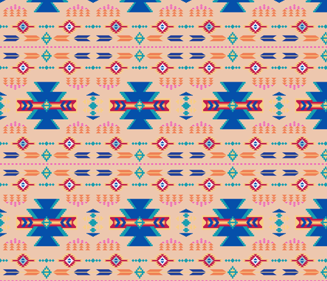 Aztec Salmon Orange Coral Southwestern fabric by phyllisdobbs on Spoonflower - custom fabric