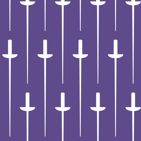 Large White Fencing Foil on Ultra Violet fabric by mtothefifthpower on Spoonflower - custom fabric