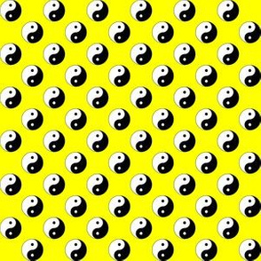 Half Inch Black and White Yin Yang Symbols on Yellow