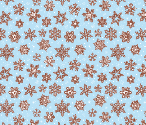 Gingerbread Snowflakes fabric by juniperr on Spoonflower - custom fabric