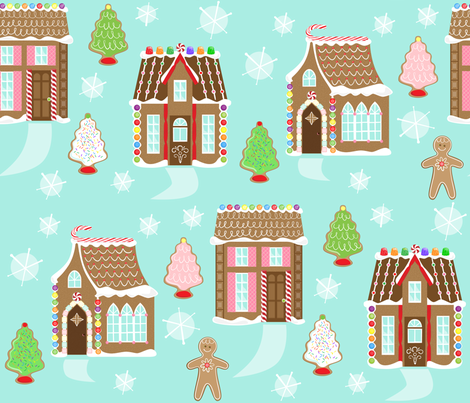 Gingerbread Lane fabric by lily_studio on Spoonflower - custom fabric