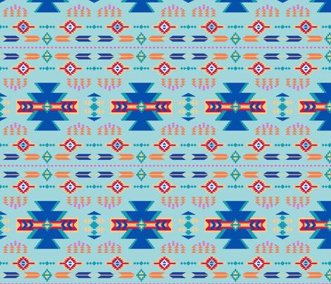 Aztec Turquoise Blue fabric by phyllisdobbs on Spoonflower - custom fabric