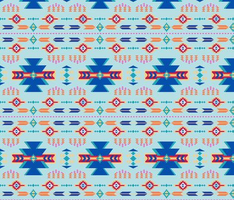 Aztec Southwestern Turquoise Blue fabric by phyllisdobbs on Spoonflower - custom fabric