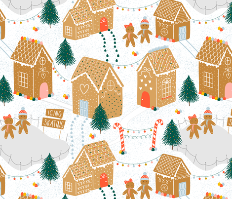 Gingerbread Village  fabric by sarah_knight on Spoonflower - custom fabric