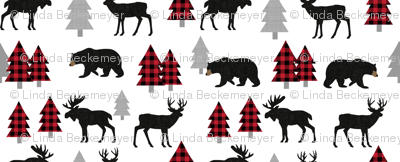 Woodland Animals Bear Moose & Deer - Red + Black Buffalo Plaid Baby Nursery Kids Children Baby Bedding