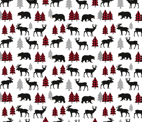 Woodland Animals Bear Moose & Deer - Red + Black Buffalo Plaid Baby Nursery Kids Children Baby Bedding fabric by gingerlous on Spoonflower - custom fabric