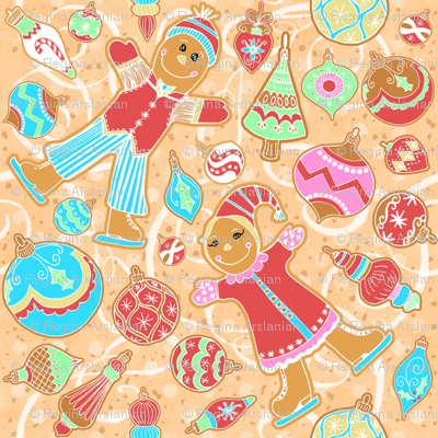 Skating Gingerbread Kids with Ornament cookies