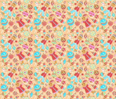 Skating Gingerbread Kids with Ornament cookies fabric by palifino on Spoonflower - custom fabric