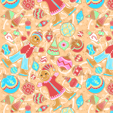 Skating Gingerbread Kids, Ornaments fabric by palifino on Spoonflower - custom fabric