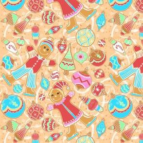 Skating Gingerbread Kids, Ornaments