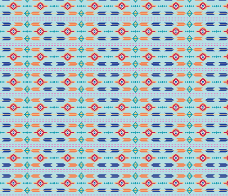 Aztec Stripe Turquoise fabric by phyllisdobbs on Spoonflower - custom fabric