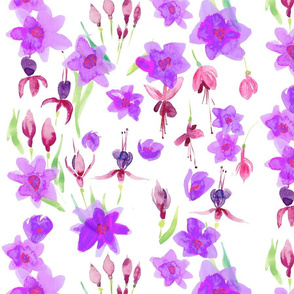 fuschia purple flower collage