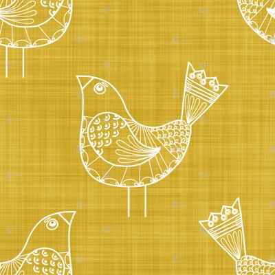 Bird Doodles on Gold