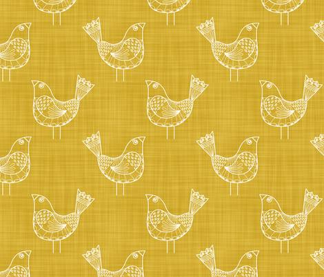 Bird Doodles on Gold fabric by run_quiltgirl_run on Spoonflower - custom fabric