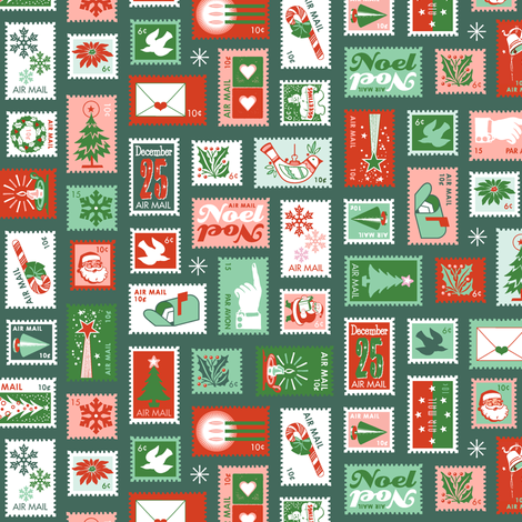 Book of Christmas Stamps* (Reds & Greens on Statue of Liberty) || stamp mail postage special delivery holiday holidays greetings cards postal service snail airmail par avian tree holly star Santa Claus snowflake vintage fabric by pennycandy on Spoonflower - custom fabric