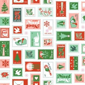 Book of Christmas Stamps* (Reds & Greens on White) || stamp mail postage special delivery holiday holidays greetings cards postal service snail airmail par avian tree holly star Santa Claus snowflake vintage