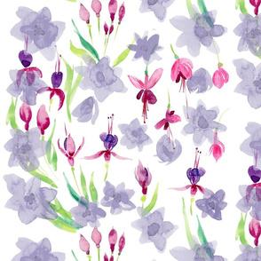 fuschia blue flower collage