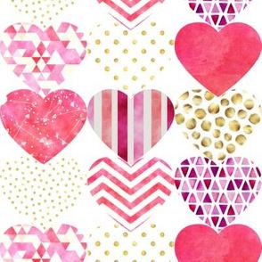 "Heart Silhouettes Design White 8"""