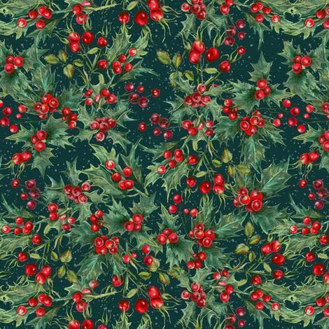 Winter - Berries Teal fabric by malibu_creative on Spoonflower - custom fabric
