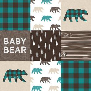 baby bear woodland patchwork fabric - dark teal, brown, tan