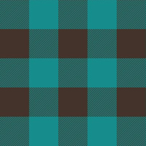 dark teal and brown plaid