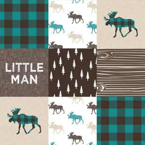 little man woodland patchwork fabric - dark teal, brown, tan