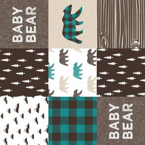 baby bear woodland patchwork fabric - dark teal, brown, tan (90)
