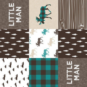 little man woodland patchwork fabric - dark teal, brown, tan (90)