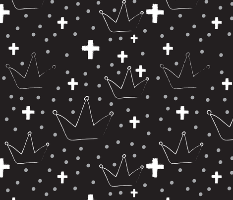 CROWN CROSS _BW fabric by sparklingjoys on Spoonflower - custom fabric