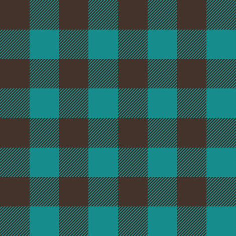 "1"" scale - dark teal and brown plaid fabric by littlearrowdesign on Spoonflower - custom fabric"
