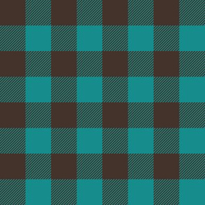 "1"" scale - dark teal and brown plaid"