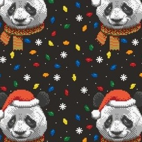 Knitted Christmas Panda