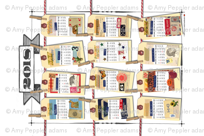2018 Tea Towel Calendar: Scrappy New Year! (White) || cut and sew diy vintage ephemera hand lettering tags clothespin washi tape holidays kitchen collage paper goods antique