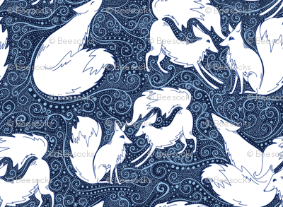 Flurries of Foxes winter arctic fox print