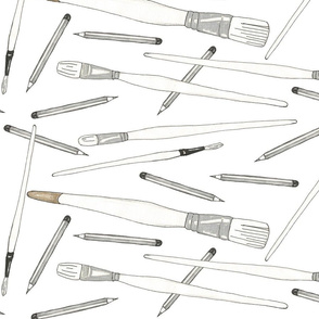 Pencils & Brushes in Black, White and Gold