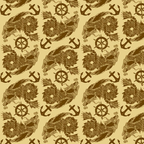 sea monster 2 chocolate on khaki