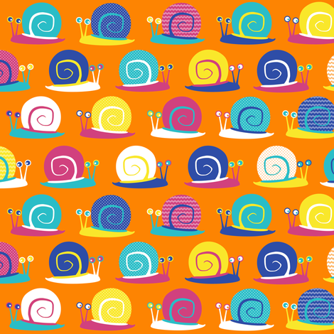 Snail Party Orange fabric by jannasalak on Spoonflower - custom fabric