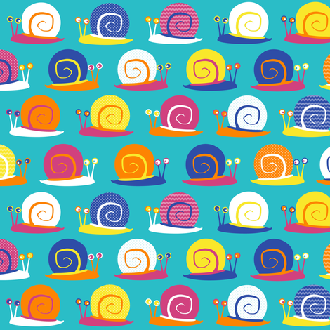 Snail Party Blue fabric by jannasalak on Spoonflower - custom fabric