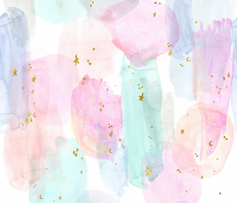 Rainbow and stars watercolor abstract fabric by crystal_walen on Spoonflower - custom fabric