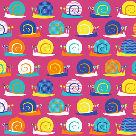 Snail Party Pink fabric by jannasalak on Spoonflower - custom fabric