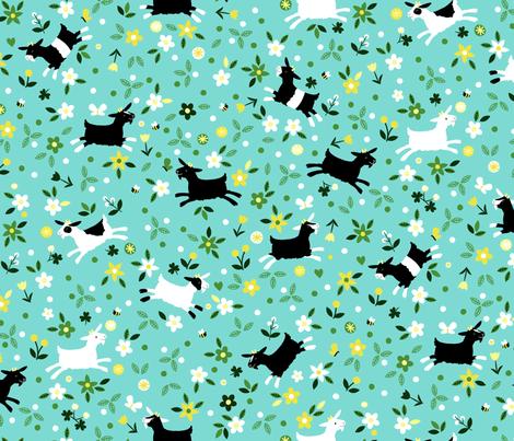 Frolic - Aqua fabric by lellobird on Spoonflower - custom fabric