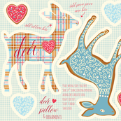 deer heart pillow and ornaments