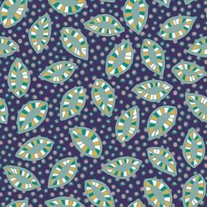 Pattern leaves on dark purple