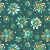 Patterned flowers on dark green