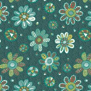 Patterned flowers on dark green