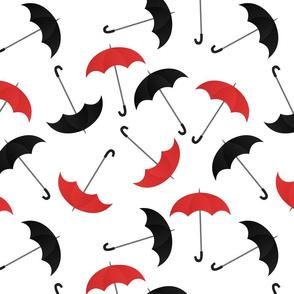 Red and Black Umbrellas