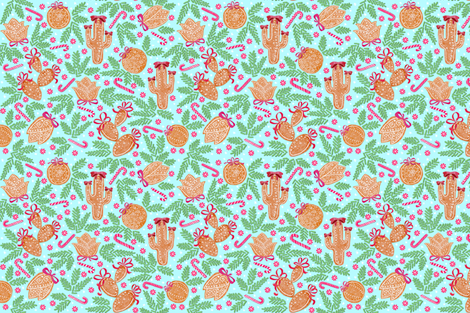 Holiday Cacti Gingerbread cookies (mint) fabric by helenpdesigns on Spoonflower - custom fabric