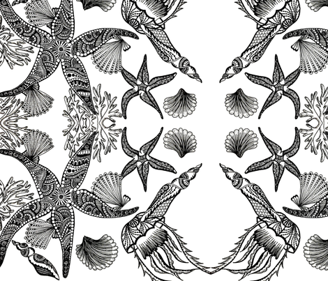 Sea Life Black & White fabric by elle's_frames on Spoonflower - custom fabric